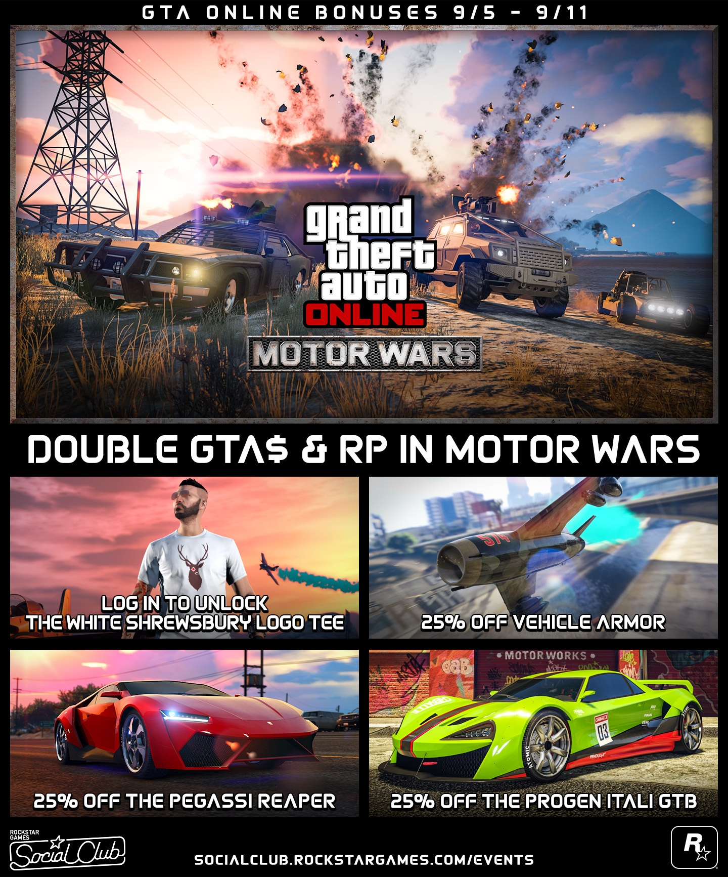 Double Gta Rp In Motor Wars And Discounts Gta Online