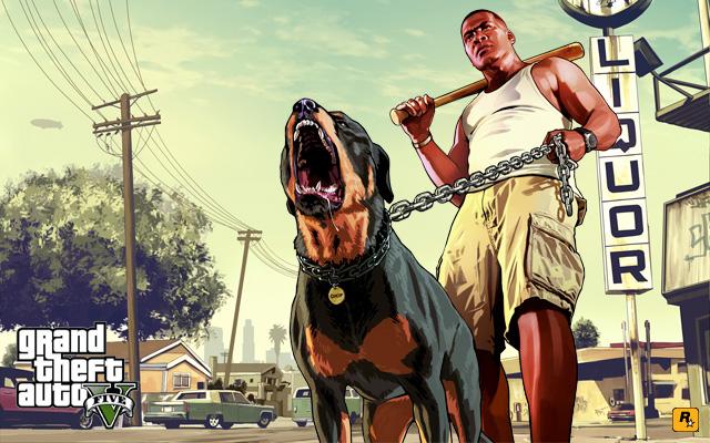 """""""Franklin and Chop"""" (""""Francklin e Chop"""") - imagem divulgada pela Rockstar"""