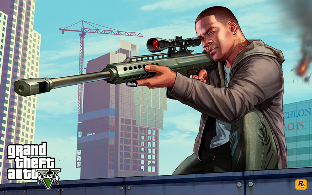 Original Grand Theft Auto V Artwork: Franklin & Chop on Guard