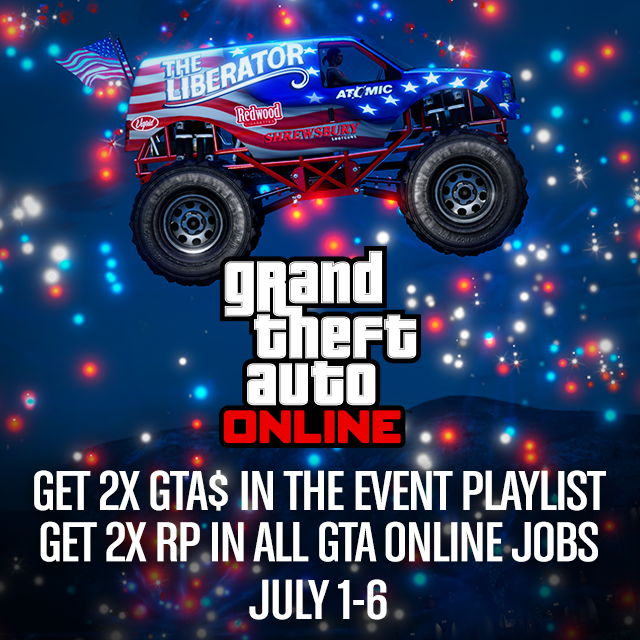 GTA5 Evento Weekend Independence Day con doppi RP e GTA$