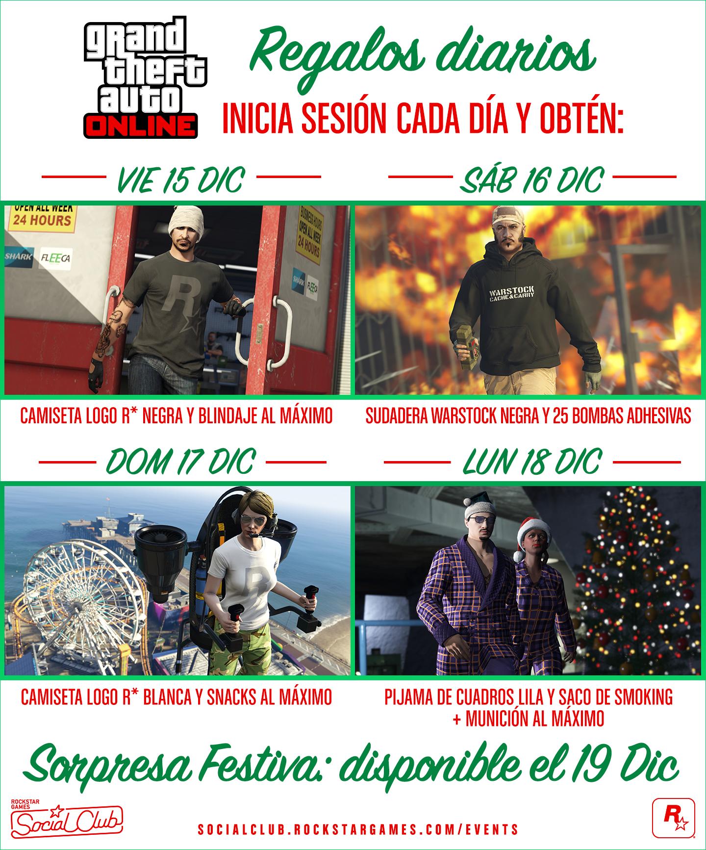6491478f9 Cuenta regresiva para la Sorpresa Festiva de GTA Online con regalos diarios  - Rockstar Games