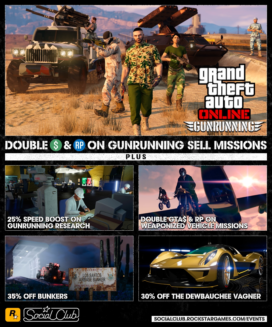 GTA Online: Gunrunning Bonuses, Double GTA$ & RP on Stunt