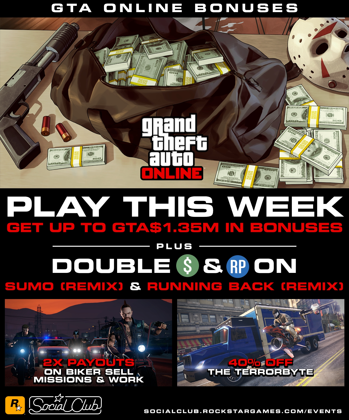 Get Up to GTA$1 35M in Bonuses This Week - Rockstar Games