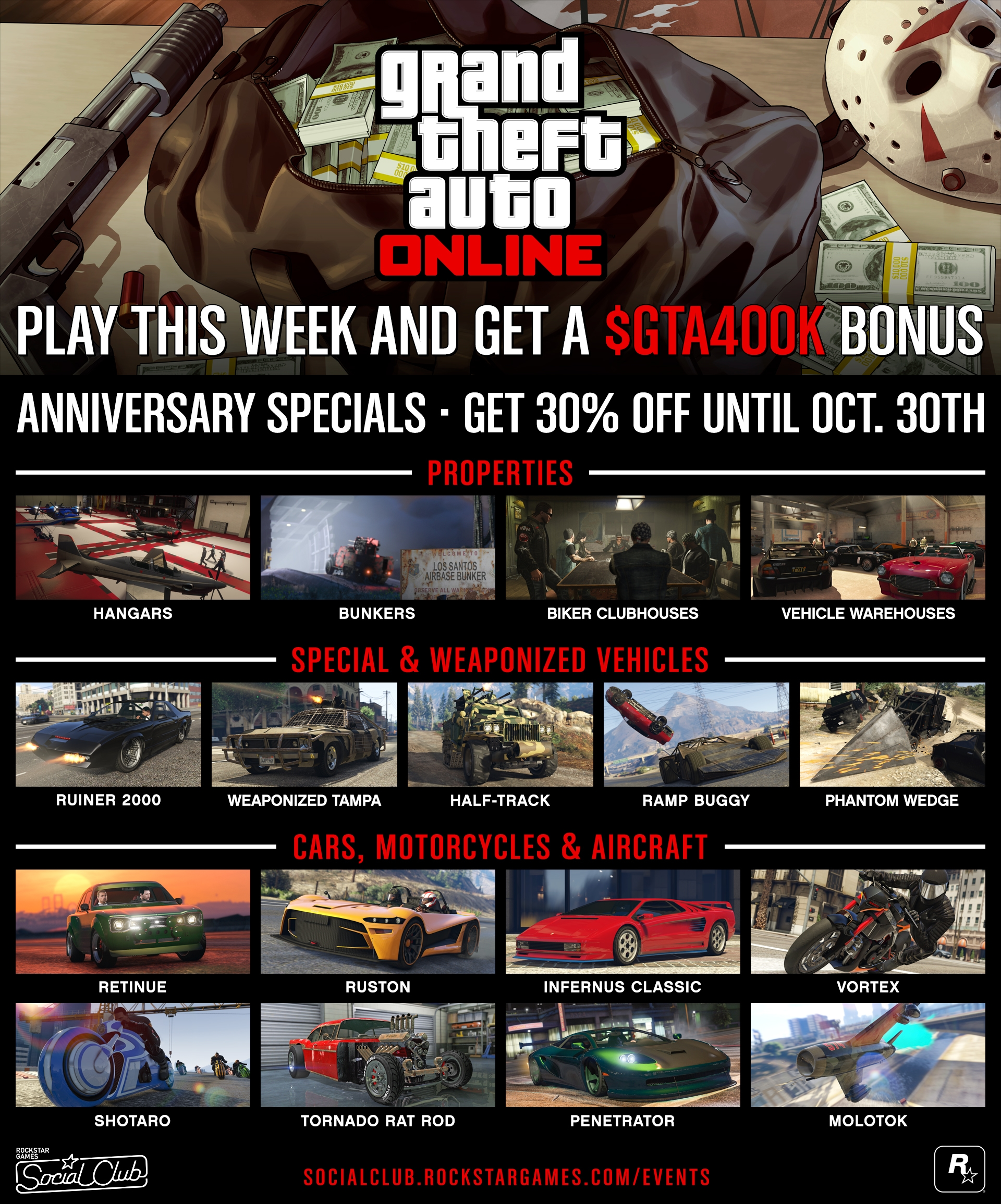 The full list of GTA bonuses available for a limited period