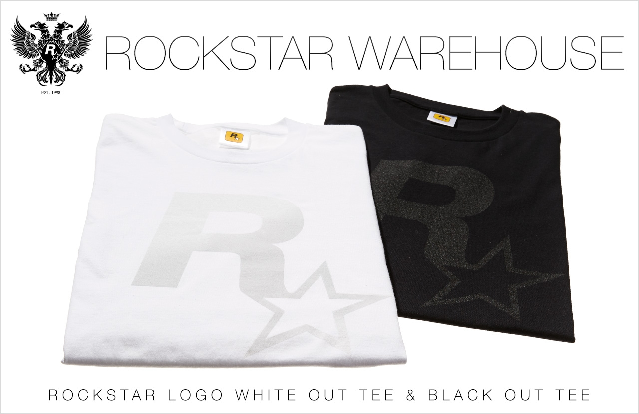 rockstar logo black out and white out tees now available rockstar