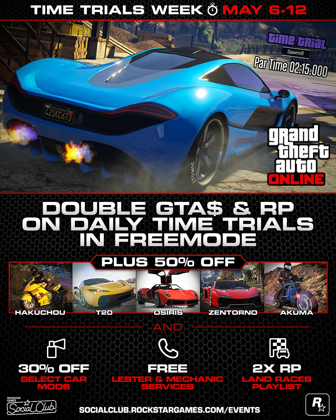 Time Trials Week May   Double Gta Rp In Daily Freemode Time Trials  Off Some Of Gta Onlines Fastest Vehicles And More
