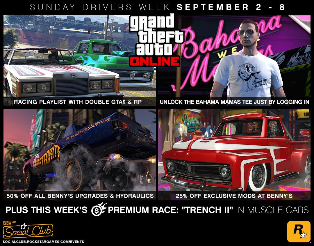 GTA Online Sunday Drivers Week: Double GTA$ & RP Racing Playlist, 50