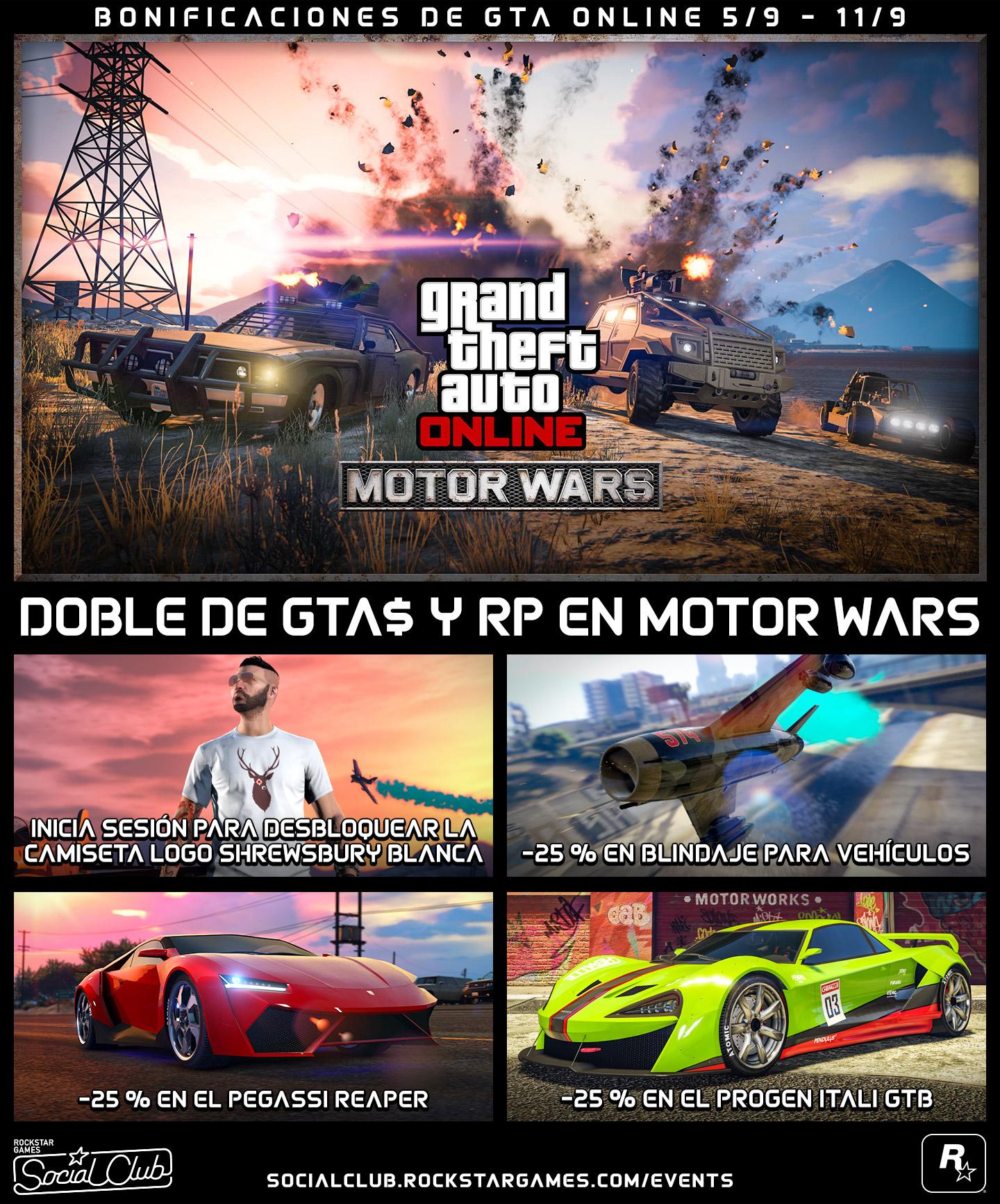 Bonificaciones De Gta Online Doble De Gta Y Rp En Motor Wars