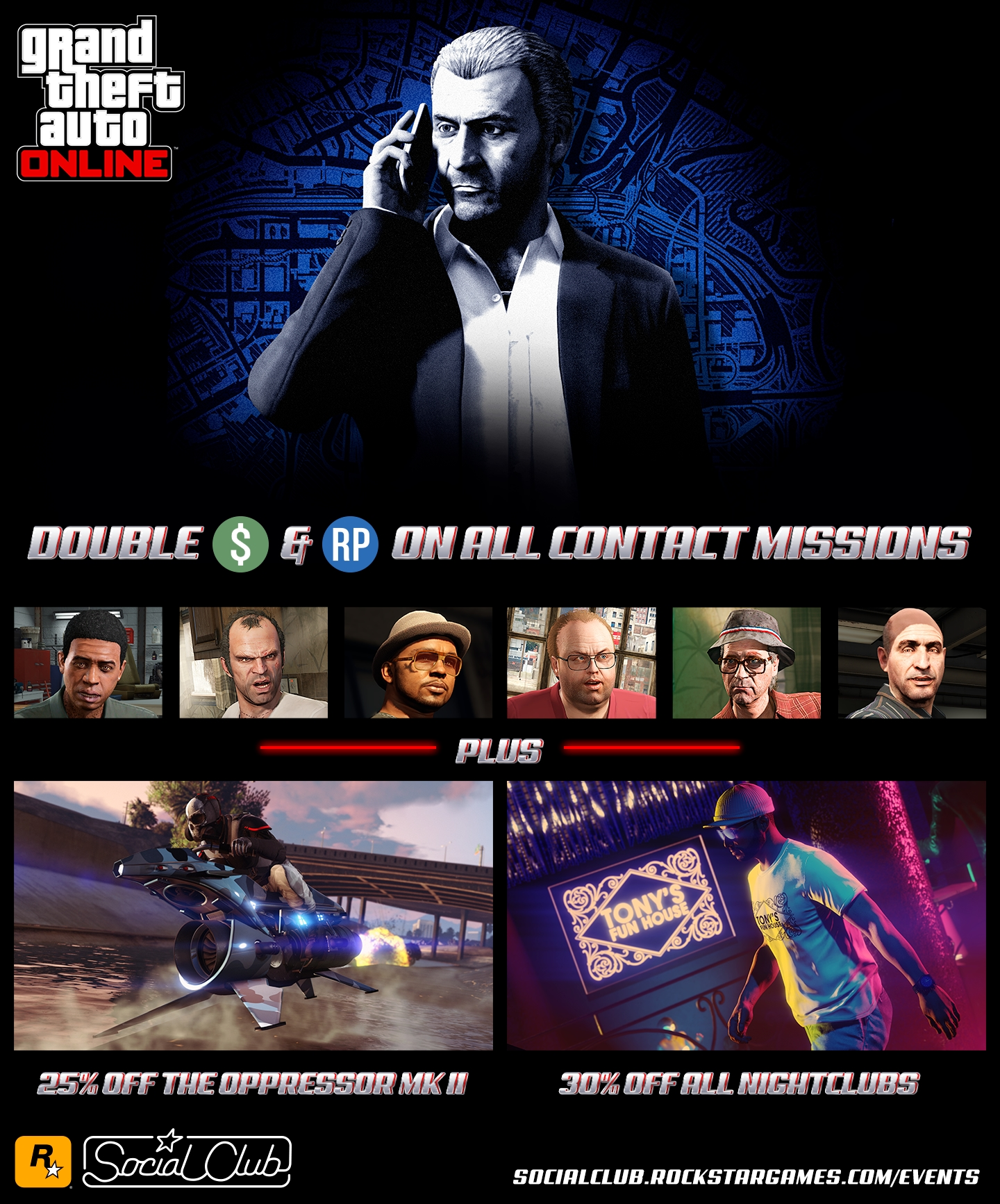 Double GTA$ & RP on All Contact Missions, Client Jobs & Rockstar