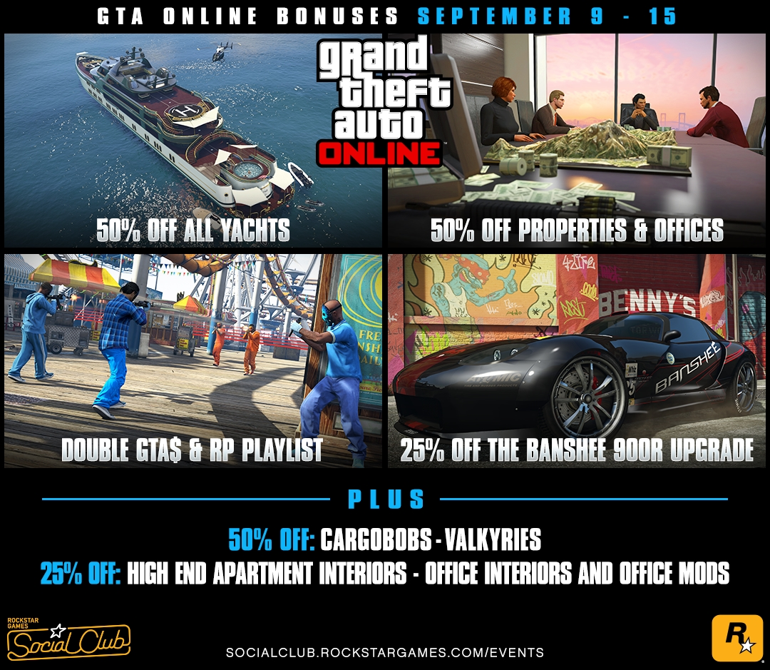 Gta Online Bonuses This Week 50 Off All Yachts Properties And Offices A Double Rp Playlist Sept 9th 15th