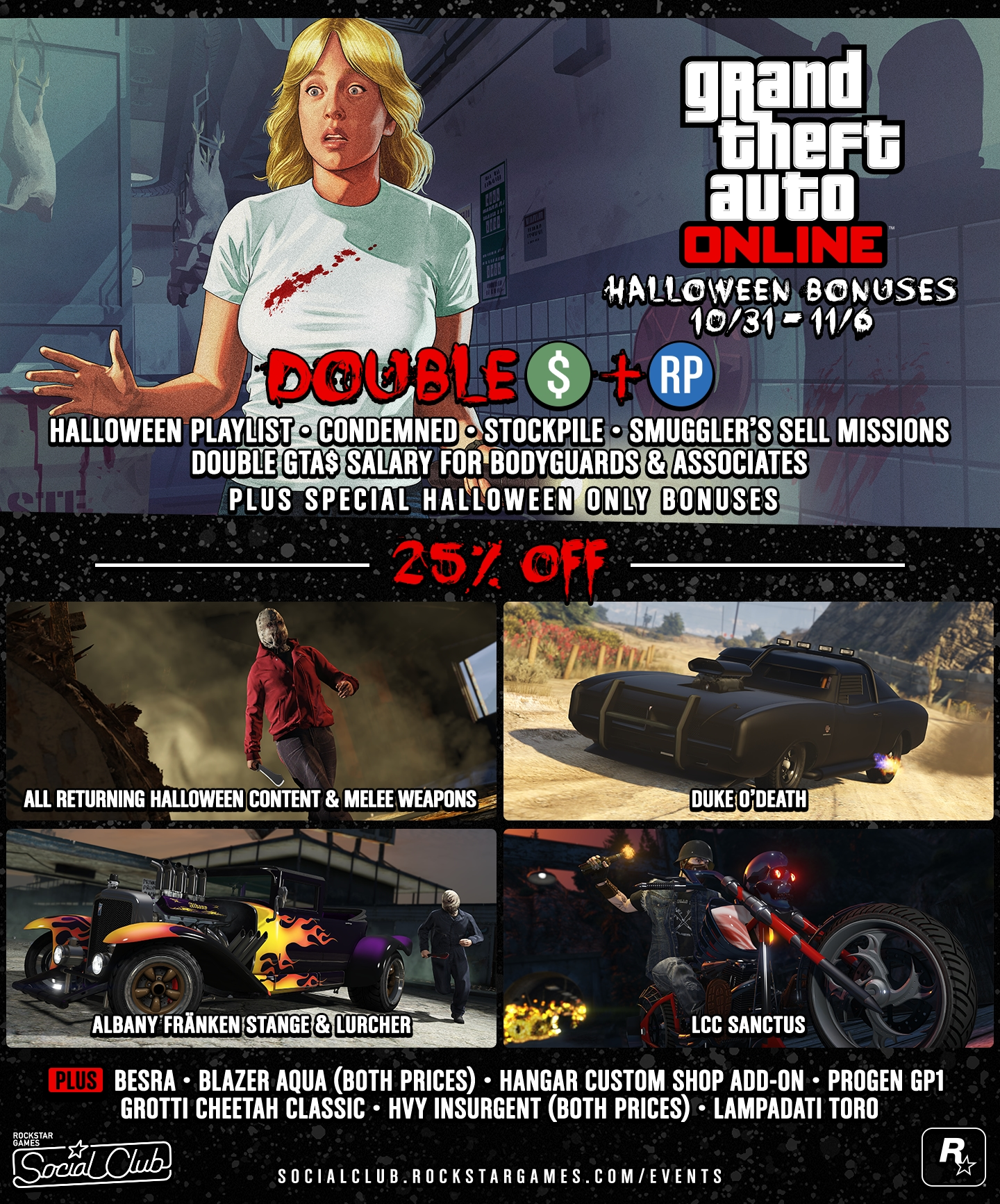 halloween in gta online double gta bonuses new western seabreeze plane and more