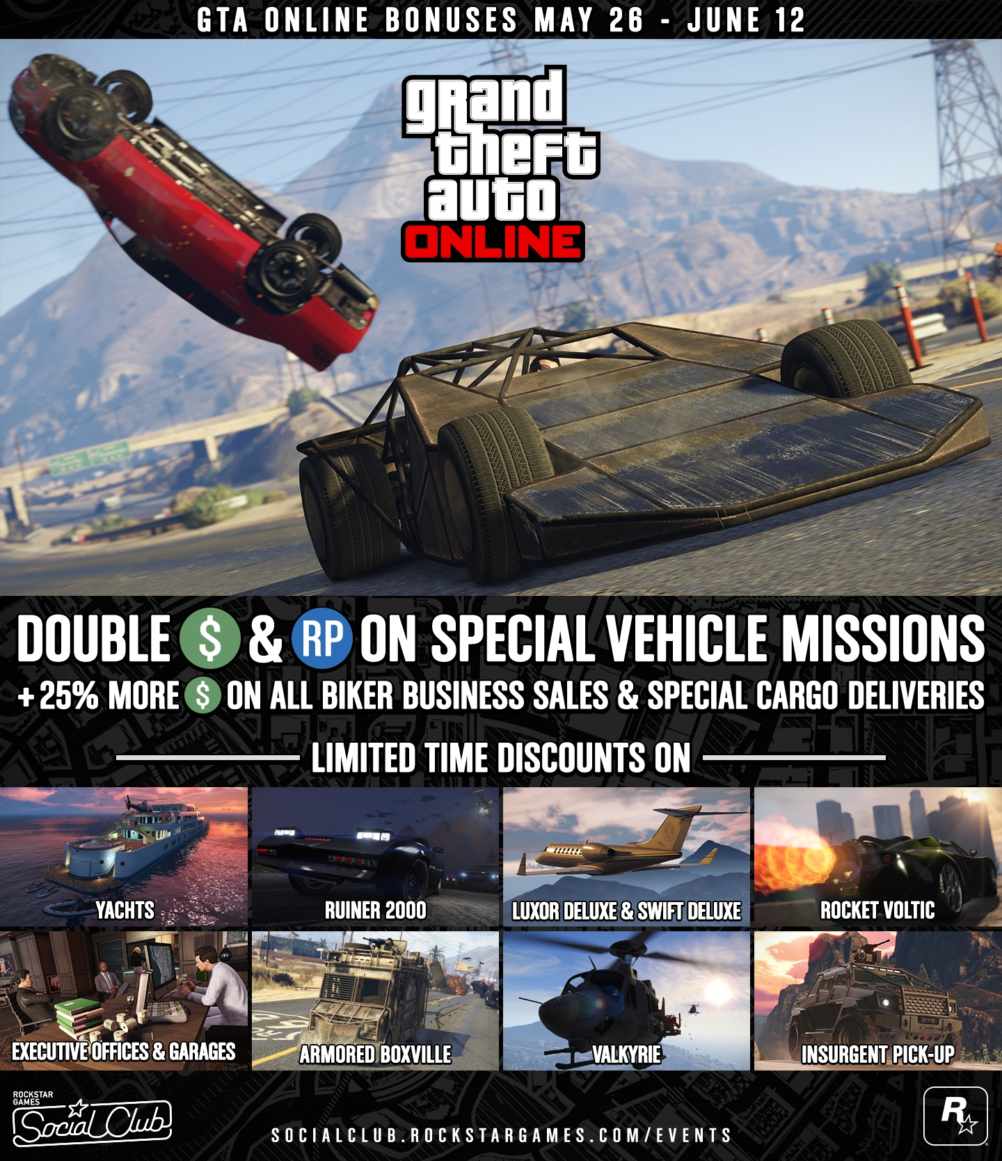 GTA Online Bonuses: Double GTA$ & RP Opportunities + Limited
