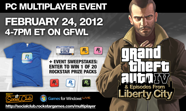 GTAIV PC Social Club Multiplayer Event on Games for Windows