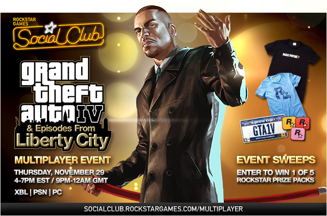 GTAIV + Episodes from Liberty City PC/PS3/360 Multiplayer Event