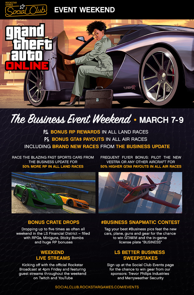 The Business Weekend Social Club Online Event Rockstar Games - Car events this weekend