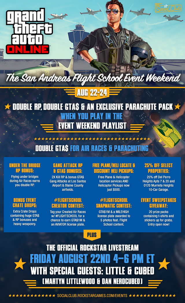 the san andreas flight school event weekend this fri