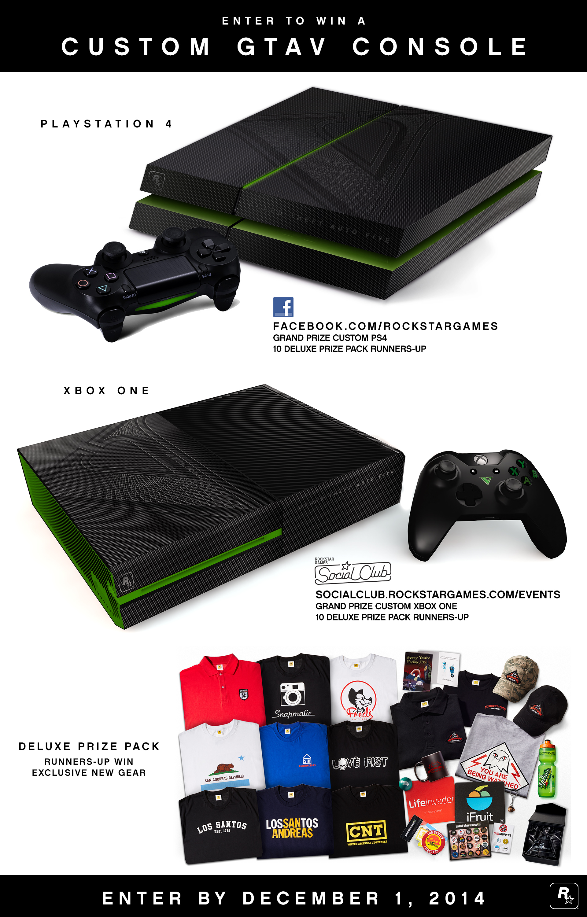 Enter to Win a Custom GTAV PS4 or Xbox One Console Plus