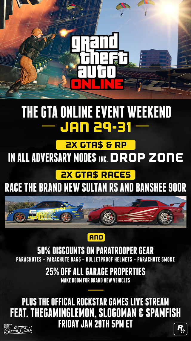 GTA Online Event Weekend: Double GTA$ in All Adversary Modes & Races