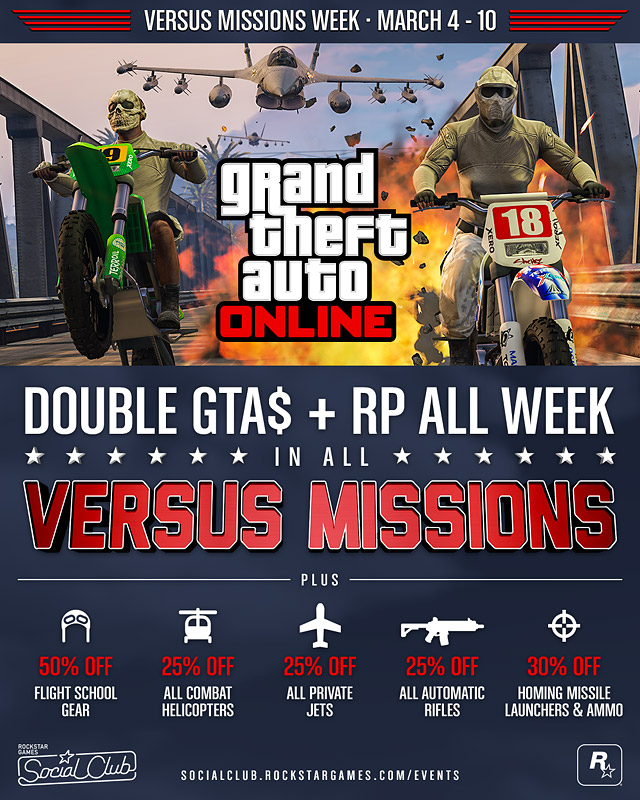 Double GTA$ & RP In All GTA Online Versus Missions: March