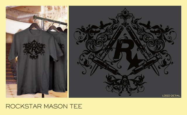 d055b431 The age-old and shadowy Square and Compass gets an update, Rockstar style.  Black on a soft dark grey cotton tee.